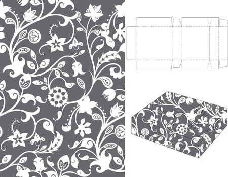 Floral Gift Box Folding 9 Vector