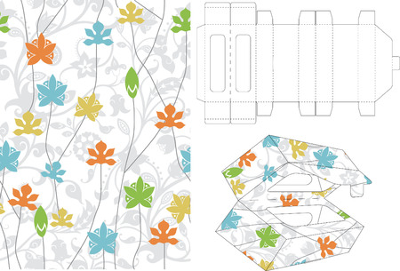 Floral Gift Box Folding 5 Vector
