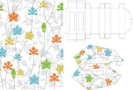 layout: Floral Gift Box Folding 5 Illustration