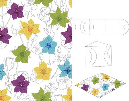 layout: Floral Gift Box Folding 2 Illustration