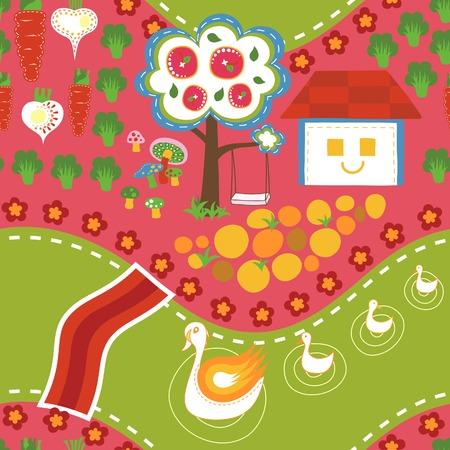 textiles: Cartoon Village Seamless Pattern 2