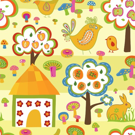 Cartoon Village Seamless Pattern 1 Vector