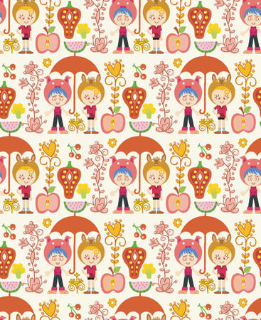 Seamless Childish Cartoon Pattern 9 Vector