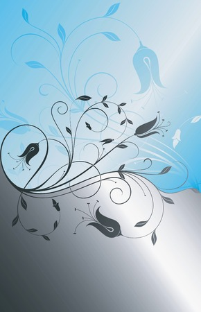 silver background: Floral Abstract Background