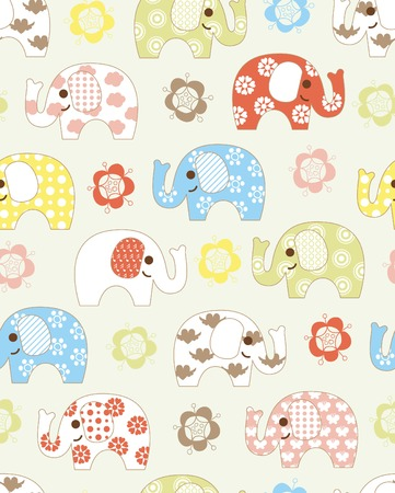 Abstract Floral and Baby Elephant Pattern