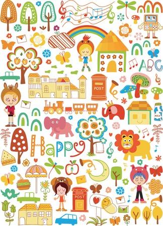cute wallpaper: Elementos de dise�o de ilustraci�n de dibujos animados