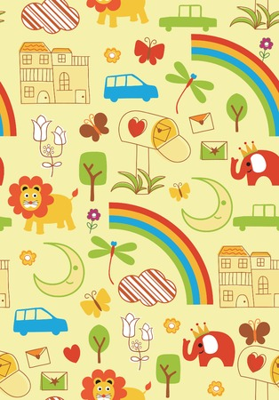 rainbow background: Cartoon Illustration