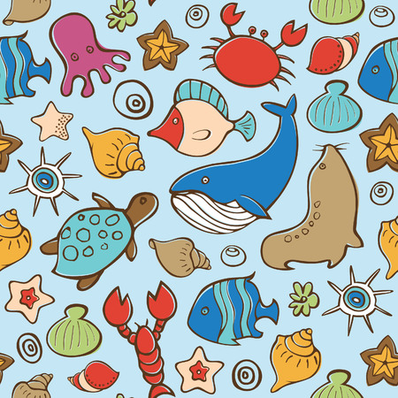 Seamless Sea Life Pattern  Vector
