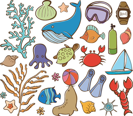 Sea Life and Diving Elements Vector