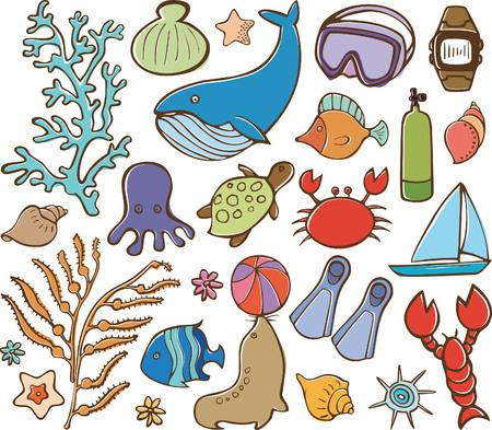 algas marinas: Vida de mar y los elementos de buceo
