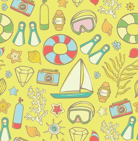 diving mask: Summer Beach Vacation Elements Pattern