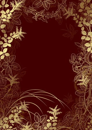gold textured background: Abstract Floral Frame Background 2