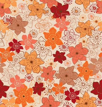 japanese style: Seamless Floral Pattern Illustration