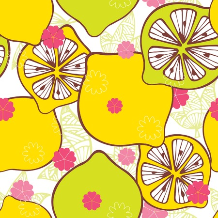 Seamless Floral and Sliced Lemon Pattern Vector