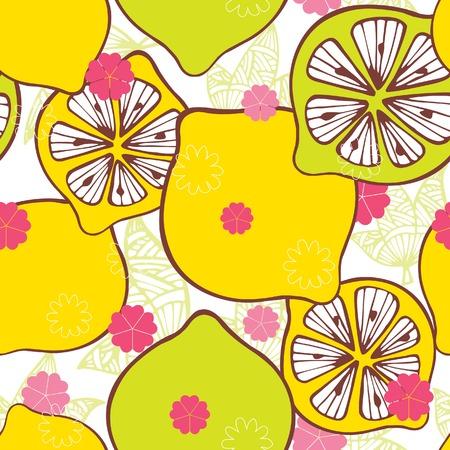 sliced fruit: Seamless Floral and Sliced Lemon Pattern