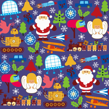 Abstract Christmas Elements Pattern 4 Vector