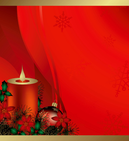 Abstract Red Christmas Candle Background  Vector