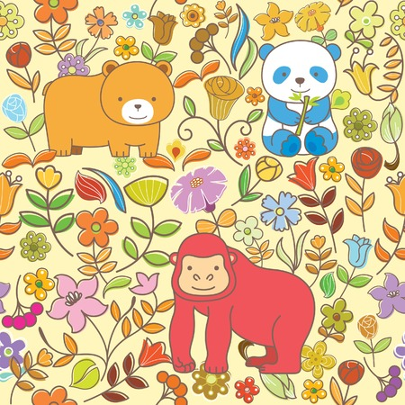 orangutang: Seamless Floral Animal Pattern 3 Illustration