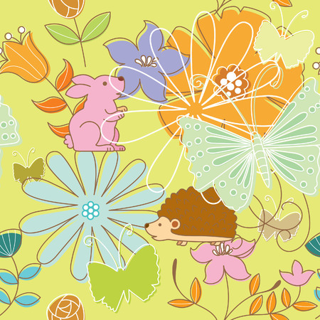 Seamless Floral Animal Pattern 4 Vector