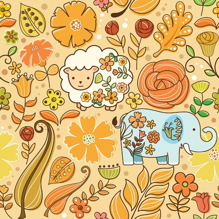 Seamless Floral Animal Pattern 5 Vector