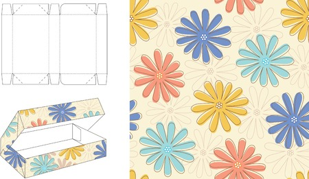 3D Floral Gift Box Die Cut 15 Vector