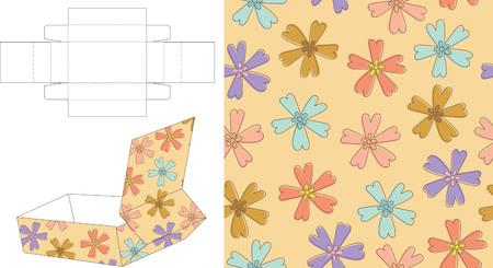 3D Floral Gift Box Die Cut 13 Vector
