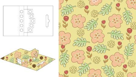3D Floral Gift Box Die Cut 23 Vector