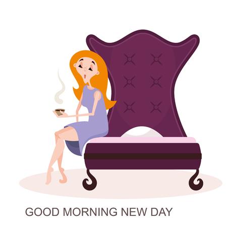 Buenos dias. El carácter de la mujer despierta. Una chica con una camiseta se sienta en la cama con una taza de café en las manos para desayunar. Ilustración de vector de estilo de dibujos animados. Ilustración de vector