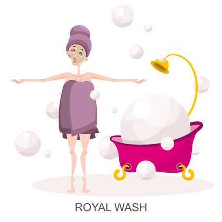 The character in the spa salon. A young girl in a towel poses next to the bathroom filled with foam and flying soap bubbles. Vector illustration in cartoon style