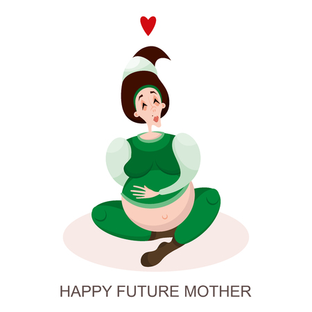 Happy waiting for the birth of a child. A young pregnant brunette woman is sitting in a green suit and woolen socks. Vector illustration in cartoon style. Vetores