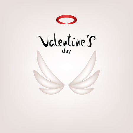 Greeting card for Valentines Day, wedding invitation for a holiday or party . Cupid's wings and halo. Vector illustration.
