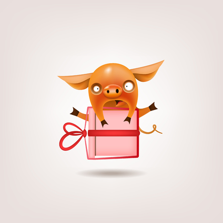 The symbol of the Valentine's Day year is a funny little orange pig surprised by a festive gift. It poses on a light background. Vector illustration.