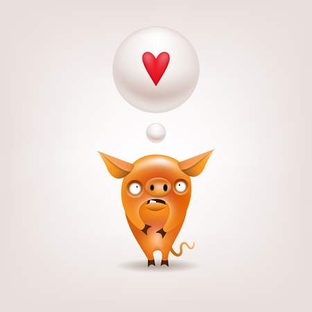 The symbol of the year for Valentine's Day - a funny little orange pig dreams of his love on a light background. Vector illustration. Illustration