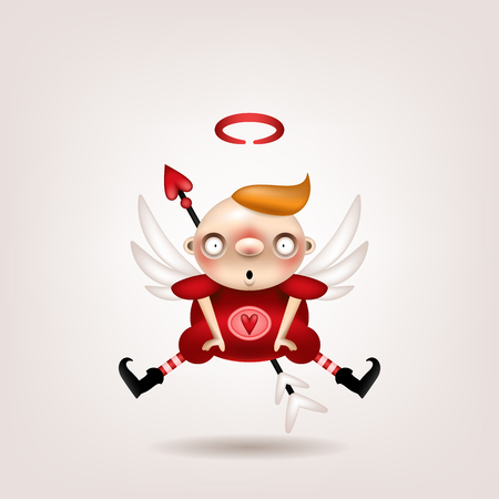 Greeting card, invitation. Funny little boy cupid posing on a light background. Vector illustration.