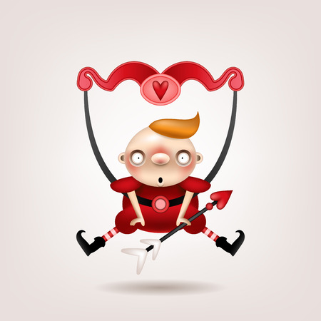 Greeting card, invitation. Funny little blond boy with an arrow and a bow of cupid posing on a light background. Vector illustration.