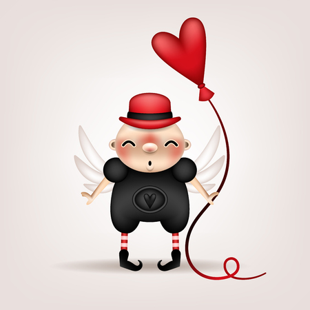 Greeting card, invitation. Funny little boy in a hat, with narrow eyes, angel wings and a heart-shaped balloon in his hand posing on a light background. Vector illustration.