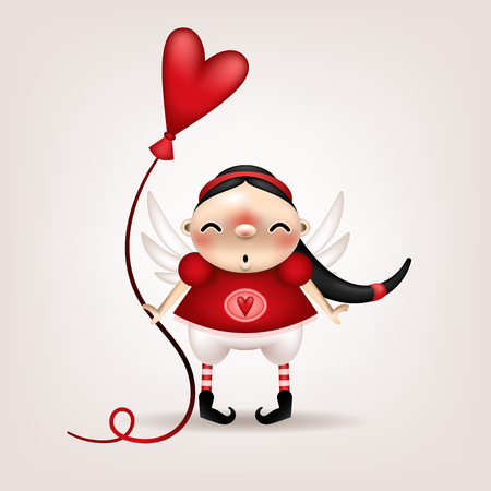 Greeting card, invitation. Funny little dark-haired girl with a heart-shaped balloon in her hand posing on a light background. Vector illustration. 矢量图像