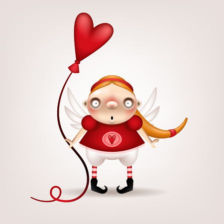 Greeting card, invitation. Funny little blonde girl with a heart-shaped balloon in her hand posing on a light background. Vector illustration.