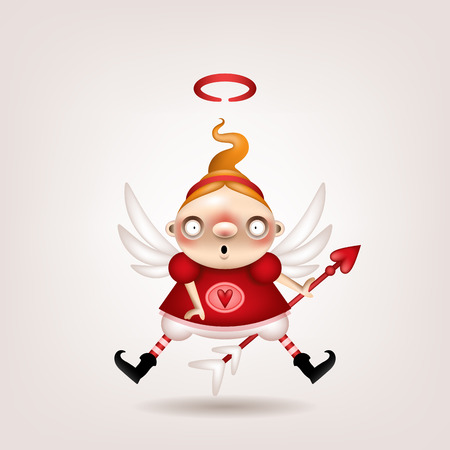 Greeting card, invitation. Funny little girl cupid posing on a light background. Vector illustration. Çizim