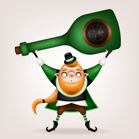 Happy St. Patrick's Day! Postcard, flyer, invitation. Character with a red beard in a suit on a light background. Cartoon funny leprechaun holding a big green bottle in his hands. Vector illustration. 일러스트