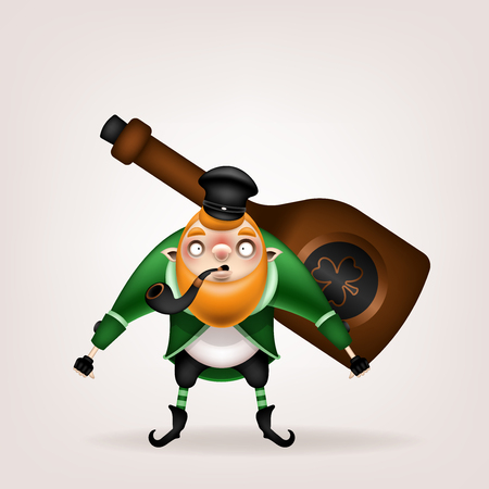 Happy St. Patrick's Day! Postcard, flyer, invitation. Character with a red beard and a tobacco pipe on a light background. Cartoon funny leprechaun carries a big bottle with a trefoil sign in his hand. Vector illustration.