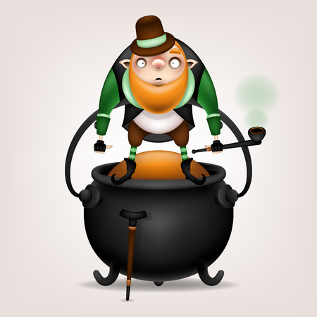 Happy St. Patrick's Day! Postcard, flyer, invitation. A character with a red beard, a pipe and a cane posing on a light background. Cartoon funny leprechaun standing on a bowler I am golden sand. Vector illustration.