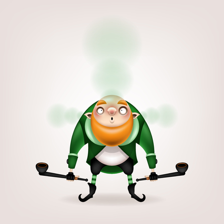 Happy St. Patricks Day! Postcard, flyer, invitation. Character with a red beard posing on a light background. Cartoon funny leprechaun lets out green smoke with a pipe in his hand. Vector illustratio