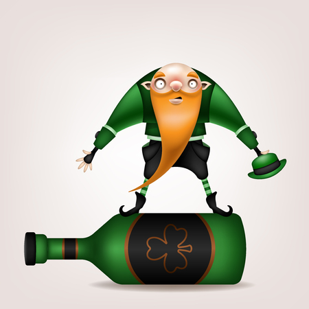 Happy St. Patrick's Day! Postcard, flyer, invitation. A character with a long red beard with a green hat posing on a light background. Cartoon funny gnome rolling on a big bottle. Vector illustration.