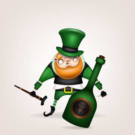 Happy St. Patricks Day! Postcard, flyer, invitation. A character with a red beard and a big green bottle. Cartoon funny leprechaun in green hat posing with a cane in his hand. Vector illustration.