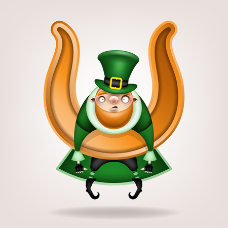Happy St. Patrick's Day! Postcard, flyer, invitation. Character with a red beard in a green hat posing on a light background. Cartoon funny leprechaun hanging on a big golden horseshoe. Vector illustration 일러스트