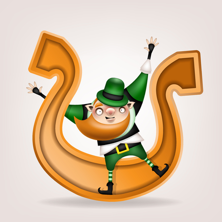 Happy St. Patrick's Day! Postcard, flyer, invitation. Character with a red beard in a green hat posing on a light background. Cartoon funny leprechaun rolls on a large golden horseshoe. Vector illustration. Ilustração