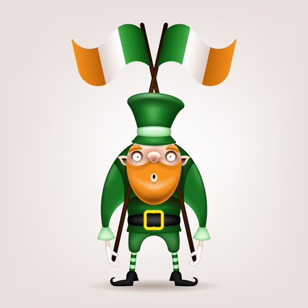 Happy St. Patrick's Day! Postcard, flyer, invitation. Character in a green hat with a red beard posing on a light background. Cartoon funny gnome holding big Irish flags. Vector illustration. Ilustração