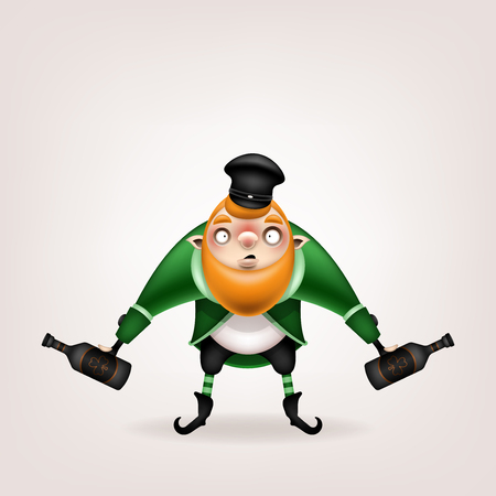 Happy St. Patrick's Day! Postcard, flyer, invitation. Character with a red beard in a suit on a light background. Cartoon funny leprechaun in a cap with bottles in his hands. Vector illustration. Ilustração