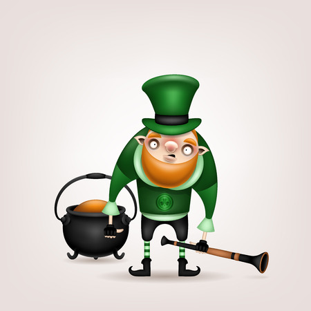 Happy St. Patricks Day! Postcard, flyer, invitation. Character with a red beard in a green hat posing on a light background. Cartoon funny leprechaun with a pot and a pipe in his hand. Vector illustr